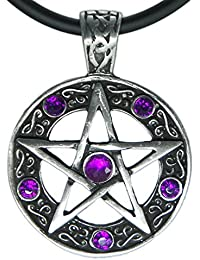 """Color Star Pentagram Pentacle Pagan Wiccan Witch Gothic Pewter Pendant + 18"""" PVC Necklace"""