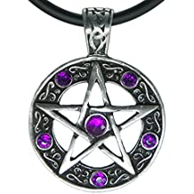 """Exoticdream Color Star Pentagram Pentacle Pagan Wiccan Witch Gothic Pewter Pendant + 18"""" PVC Necklace"""