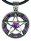 "Exoticdream Color Star Pentagram Pentacle Pagan Wiccan Witch Gothic Pewter Pendant + 18"" PVC Necklace (Purple)"