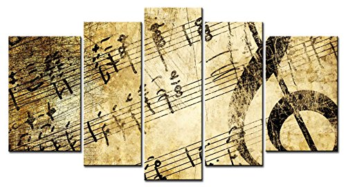 [ClassiceDecorArt Wall Art Paintings - 5 Pieces Decor Art of Vintage Music Sheets Painting - The pictures Print on Canvas for Modern Home Decor Decoration] (Girl Vintage Sheet Music)