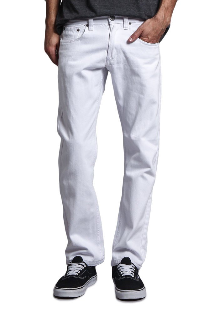 Victorious Mens Slim Fit Colored Stretch Jeans GS21 - WHITE - 36/30