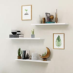 White Wall Mounted Floating Shelves Showcase,Set of 3 Wood Home Decoration Display Ledge Modern Décor Hanging Floating Shelves with Invisible Brackets for Living Room Office Bedroom Bathroom Kitchen