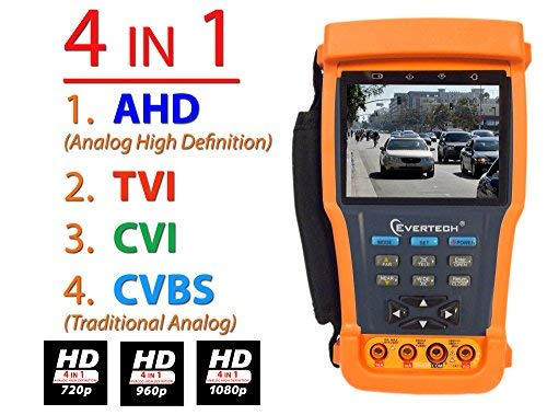 Evertech Cctv Multi-function Tester PRO M - Built-in Digital Multimeter - 3.5'' LCD Monitor Cctv Tester Video / PTZ Tester / Security Camera / Cable Tester /Cctv Monitor Test Tester + Multimeter 11 in One Function by Realtime