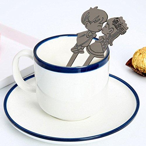 YJYdada Colorful Spoon Couples Spoons Flatware Coffee Drinking Tools Kitchen Gadget (Black) ()