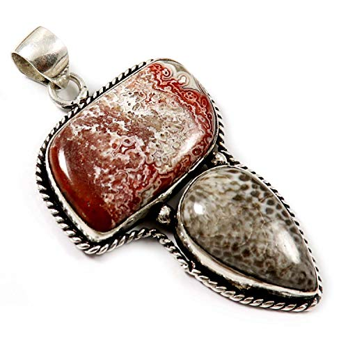 GoyalCrafts Pendant Jewelry Silver Plated Crazy Lace Agate, Fossil Coral Natural GPS58 ()