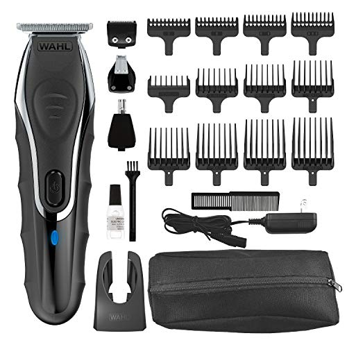 Wahl Aqua Blade Rechargeable Wet Dry Lithium Ion Deluxe Trimming Kit with 4 Interchangeable Heads for Shaving, Detailing, Grooming Beards, Mustaches, Stubble, Ear, Nose, Body - Model 9899-100