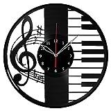 Piano Music Vinyl Clock Record Wall Clock Fan Art Handmade Decor Unique Decorative Vinyl Clock12″ (30 cm) Review