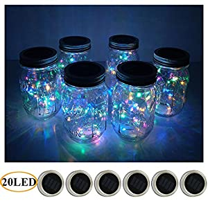 6 Pack Mason Jar Lights 20 LED Solar Colorful Fairy String Lights Lids Insert for Patio Yard Garden Party Wedding Christmas Decorative Lighting Fit for Regular Mouth Jars