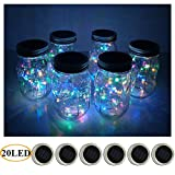 fairy berries led lights - 6 Pack Mason Jar Lights 20 LED Solar Colorful Fairy String Lights Lids Insert for Patio Yard Garden Party Wedding Christmas Decorative Lighting Fit for Regular Mouth Jars