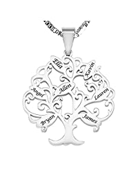 925 Sterling Silver Personalized Family Tree Name Necklace Custom Made with Any Names