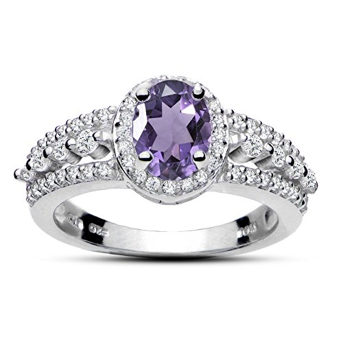 Sterling Silver Amethyst and White Topaz Oval Ring