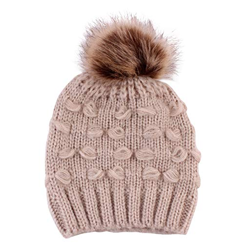 Winter Warm Knit Newborn Baby Hat Infant Toddler Kids Child Pom Pom Beanie Cap Unisex Hats for Baby Boys Girls (Khaki)