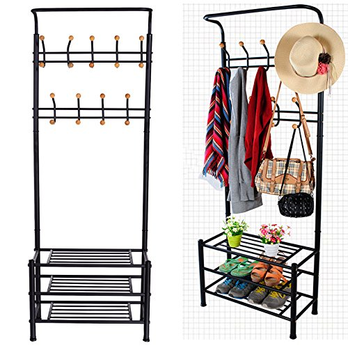 Eshion Multi-purpose Hat Coat Rack Entryway Storage Valet Clothes Hanger Shoe Shelf Organizer Metal, Black (US STOCK) (Black) - Storage Valet