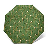 Cactus Patterns Automatic Umbrella, Folding Umbrella Windproof UV Protection For Rain Anti-Slip Rubberized Grip For Business, Travels, Wedding, Gifts