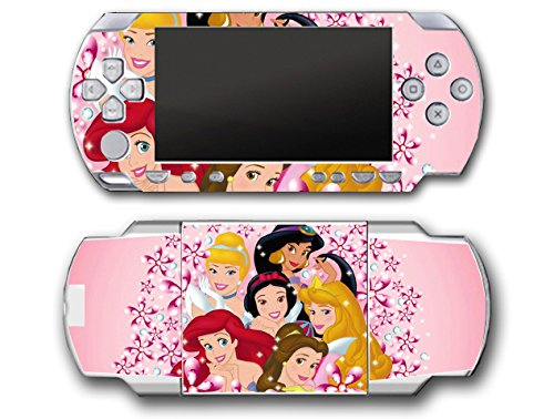 Princess Friends Snow White Belle Jasmine Cinderlla Pink Flowers Video Game Vinyl Decal Skin Sticker Cover for Sony PSP Playstation Portable Original Fat 1000 Series System (Playstation Snow Princess)