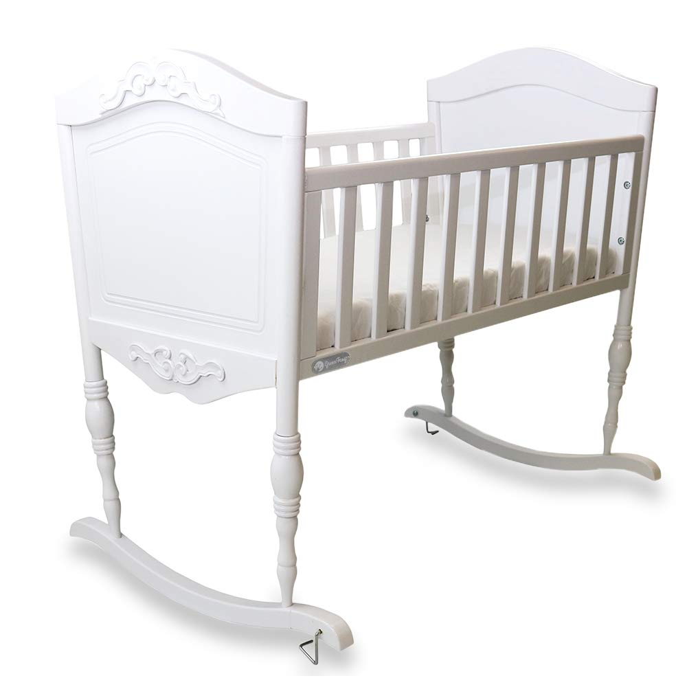 Green Frog, Antique White Cradle | Handcrafted Elegant Wood Baby Cradle | Premium Pine Construction | Rocking and Stationary Features by Green Frog