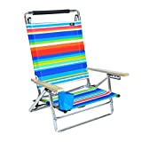 Deluxe 5 pos Lay Flat Aluminum Beach Chair w/ Cup Holder