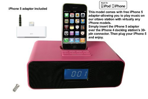 Ottavo OT3040ps Docking Station for iPhone 5, 4, 4S, 3G, 3GS, iPod & iPod Touch with Dual Alarm, Radio, Clock and Remote Control (Pink Color)