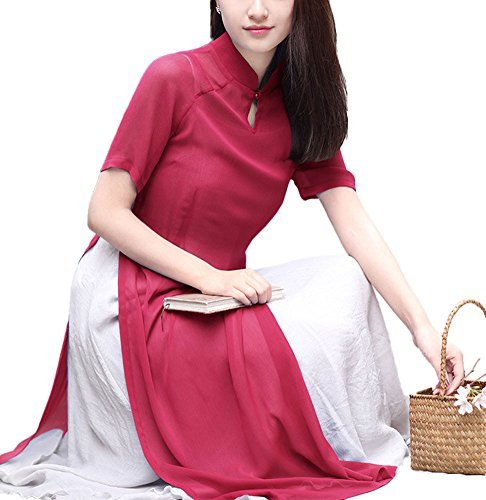 Plaid&Plain Women's Traditional Costume Chiffon Han Chinese Clothing Cheongsam Red freesize (Han Chinese Clothing compare prices)
