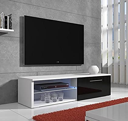 muebles bonitos – Mueble para TV Modelo basay lettiemobili Blanco con Negro LED (100 cm): Amazon.es: Hogar