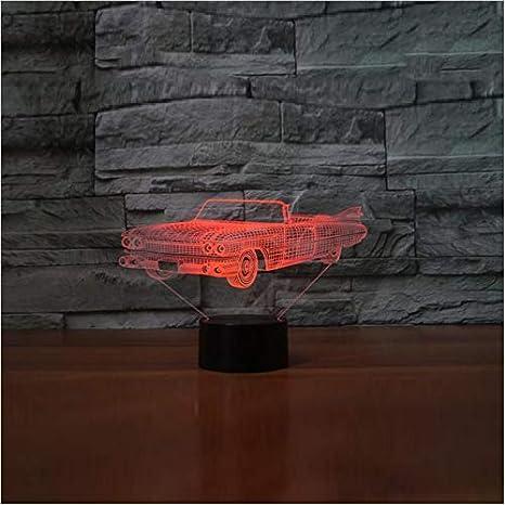 Luz Nocturna 3D Coche Deportivo Lámpara Dormitorio Decoración Forma De Coche Lámpara De Mesa 7 Ambiente De Color Led Lampara Sleep Car Regalo De Navidad: ...