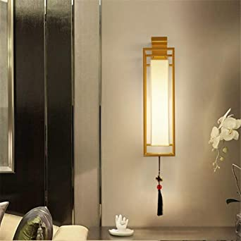 Aplique LED, pasillo de hierro forjado, escalera de dormitorio rectangular, mesita de noche, sala de estar, lámpara de pared de fondo, bronce, trompeta: Amazon.es: Iluminación