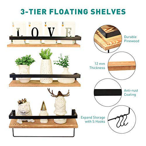 Floating Shelves Wall Mounted Set of 3, Rustic Solid Wood Wall Shelf for Bedroom, Living Room, Kitchen, Bathroom (Pine)