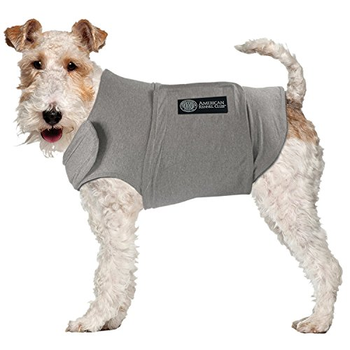 American Kennel Club AKC Anti Anxiety and Stress Relief Calming Coat for Dogs, Essential for Thunderstorm season and 4th of July Fireworks- Grey, X-Large