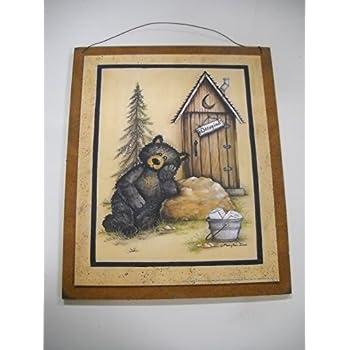 Bear bath house wooden bathroom wall art sign for Bathroom art amazon