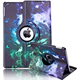 HDE iPad Air 1 Tablet Case Rotating Flip Stand Folding Custom Design Series Smart Cover Leather for Apple iPad Air 5th Gen (Ethereal Rainbow)