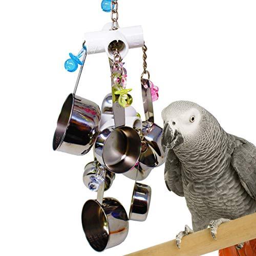 gLoaSublim Bird Toys, Parrot Bird Stainless Steel Pot Chew Bite Toys Cage Pendant Decor Pet Supplies - Random -