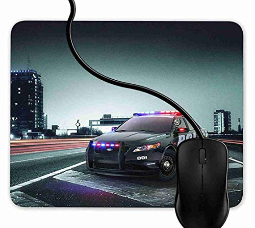 Mouse Pad Gaming Awesome City Police Car,9.25X7.75 inch Non-Slip Rubber Mousepad Mat for Desktops, Computer, PC and Laptops 1F688 ()