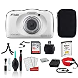 Nikon COOLPIX W100 Waterproof Rugged Digital Camera White - Bundle with Carrying Case + 32GB Sandisk Memory Card + More