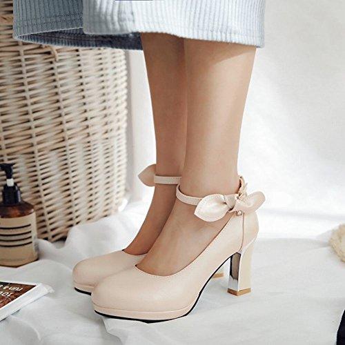 Womens Shoes Strap Sweet Carolbar Apricot Bridal High Ankle Dress Bows Heel AzwwO