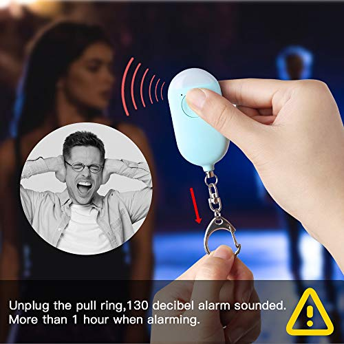 Personal Security Alarm Keychain with LED Flashlight for Women and Seniors - USB Chargable Safe Personal Scream Alarm Emergency Self Defense Alarm Safety Alert for Girls Kids and Men
