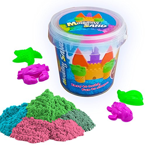 DUUTY Kinetic Play Sand Moldable Beach Magic Sand Set Colored Play Sand 1.8lbs + 4pcs Molds for Kids Creative Playing,Colors May Vary