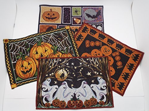 Halloween Tapestry Placemats - Set of 4 - Halloween Placemat Assortment 13'' x 19''