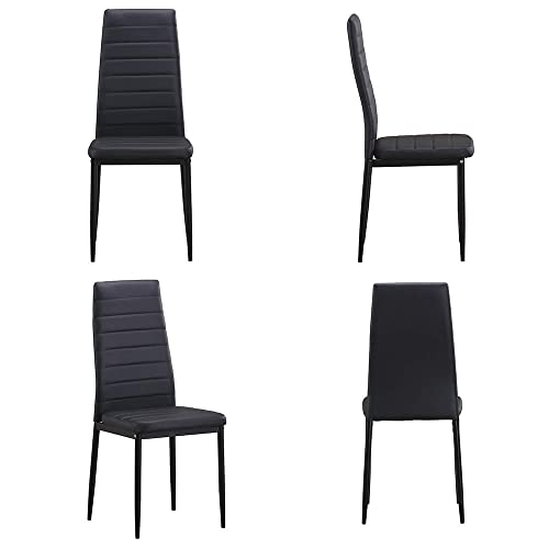 Romatlink Office Chair with Metal Legs High Back Seat Kitchen Dining Room Furniture 4 Dining Chairs Set Kitchen Restaurant Padded Chair Meeting Room Home Chair for Dining Room Desk Chair Black
