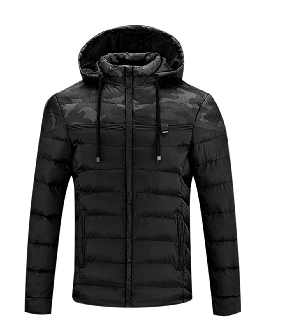 mydeshop Mens Outerwear Coat Lightweight Quilted Puffer Jacket Winter Down Jacket with Hood