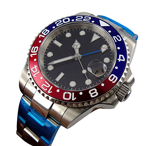 WhatsWatch 40mm parnis black dial GMT sapphire glass submariner automatic mens watch PA-0111194