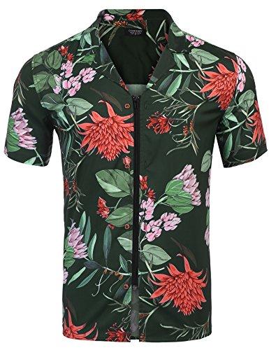 COOFANDY Casual Hawaiian Beach Shirt for Men Short Sleele Aloha Party Floral Printed Short (Over Short Sleeve Camp Shirt)