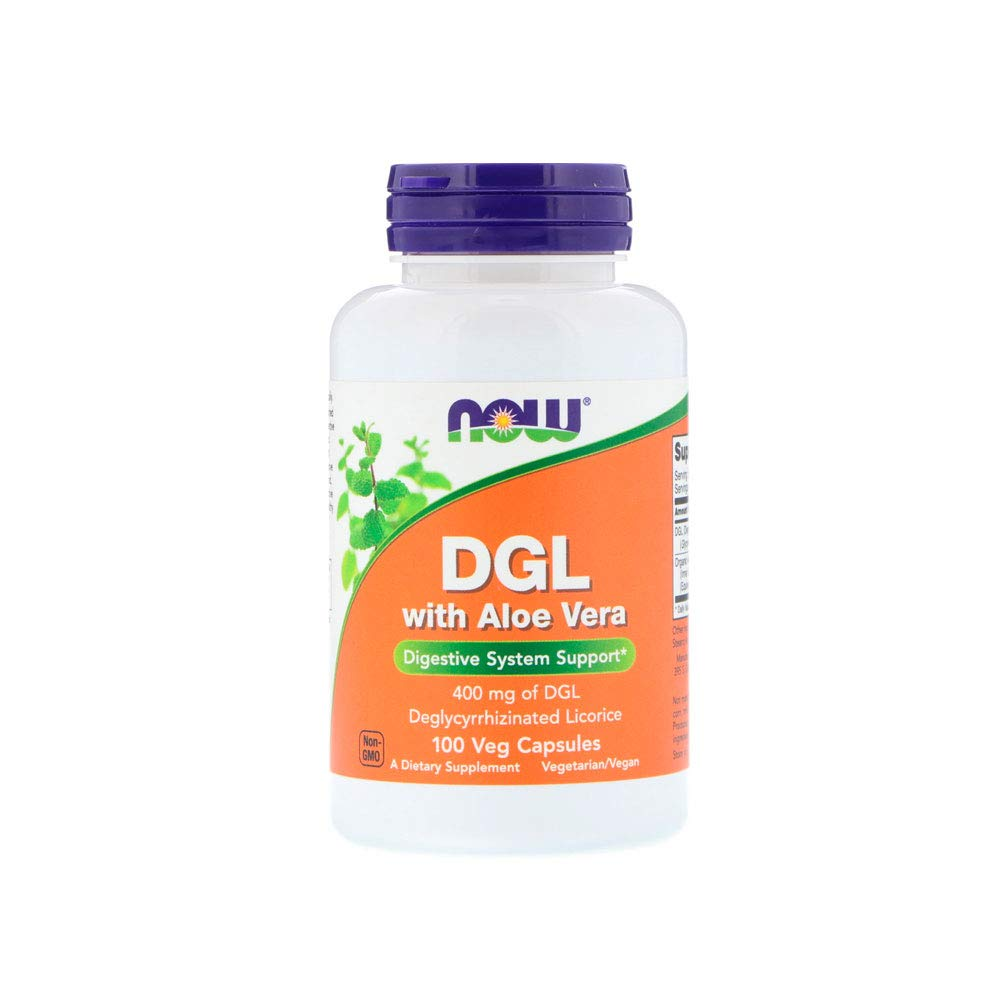 NOW Supplements, DGL with Aloe Vera (Deglycyrrhizinated Licorice), 100 Veg Capsules