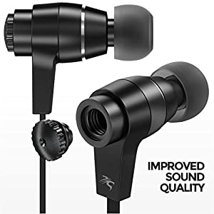 Sentey LS-4215 Oryon Plus Black Earbuds with Improved Sound Quality Metal Audiophile In-ear Headphones Earphones Headset for Music Running Travel Carrying Case Included Inline Microphone Control