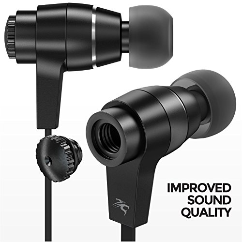 Sentey LS-4215 Oryon Plus Black Earbuds with Improved Sound Quality Metal Audiophile In-ear Headphones Earphones Headset for Music Running Travel Carrying Case Included Inline Microphone Control by Sentey