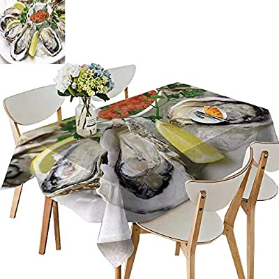 UHOO2018 Printed Fabric Tablecloth Square/Rectangle Oysters plaate Wedding Party Restaurant