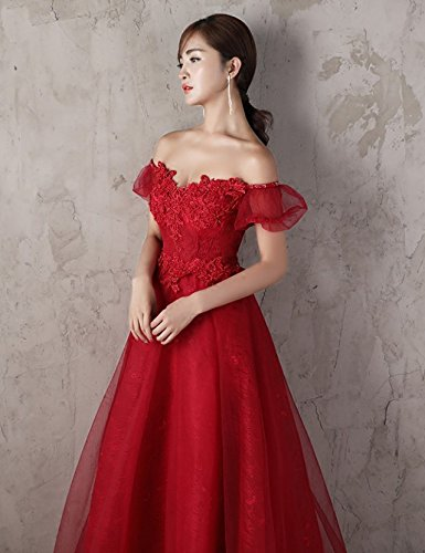 Generic Korean toast clothing red wedding dress banquet presided over strapless evening dress sexy long Dress Costume for women girl by Generic (Image #9)