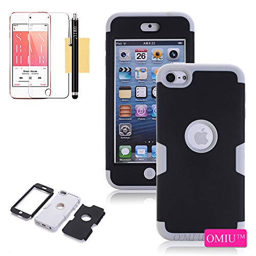 Touch 6 Case, iPod Touch 6 Case, OMIU(TM)Full-body 3 IN 1 [Silicone&PC] Combo Bumper Case Fit For Apple iPod Touch 6, Sent Stylus,Screen Protector-(Black+Grey), Apple iPod Touch 6 Case - Combo Ipod