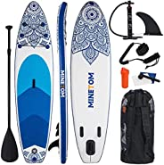 Minetom Inflatable Stand Up Paddle Board for All Skill with Premium SUP Accessories & Carry Bag, Wide Stan
