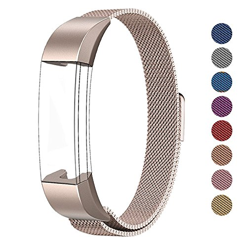 SWEES Fitbit Alta HR and Alta Bands Metal, Milanese Stainless Steel Replacement Accessories Metal Small & Large Band for Fitbit Alta HR and Alta, Champagne