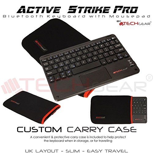 8bc18d47b68 TECHGEAR [Active Strike Pro Slim Bluetooth Wireless UK QWERTY Keyboard with  Mouse Touchpad for Asus ZenPad 10 (Included Keyboard Carry case):  Amazon.co.uk: ...